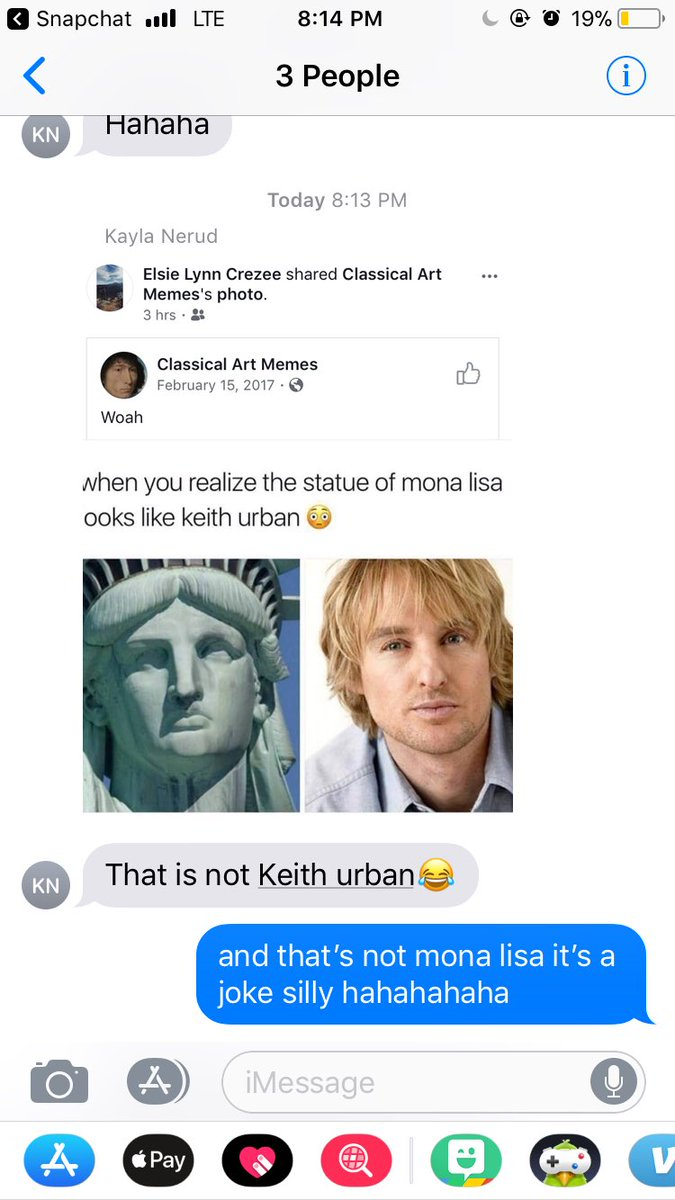 Kayla Nerud: doesn't realize that this is a joke or realize that it is the statue of liberty not mona lisa. https://t.co/qWIIjE3fIO