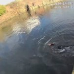 WATCH: Hero police officer, who cannot swim, dives into freezing water to save drowning man