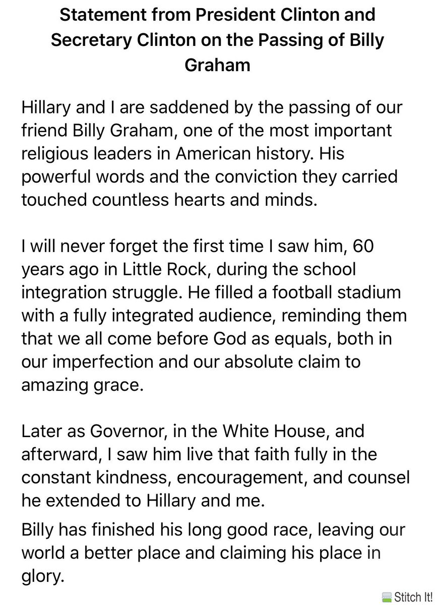 test Twitter Media - Statement of former U.S.  President Bill Clinton and former Secretary of State Hillary Clinton on the passing of Billy Graham #sabcnews https://t.co/k8qZIYmpWL