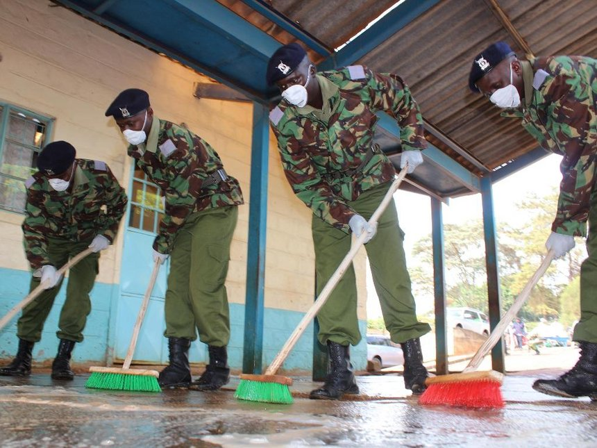 Kenya Police Training College recruits join county officials in cleaning Nyeri