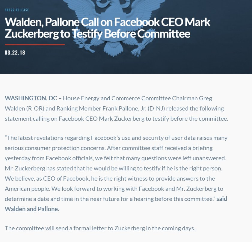 JUST IN: House Energy U0026 Commerce Committee Leaders Call On Facebook CEO  Mark Zuckerberg To