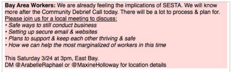 Calling all Bay Area sex workers!! Come learn how to keep yourself safe! AkYhpls9MG