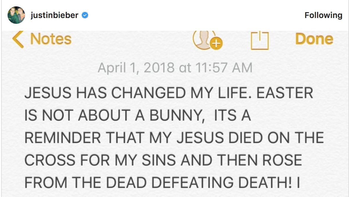 "Justin Bieber wants you to know that ""EASTER IS NOT ABOUT A BUNNY."""