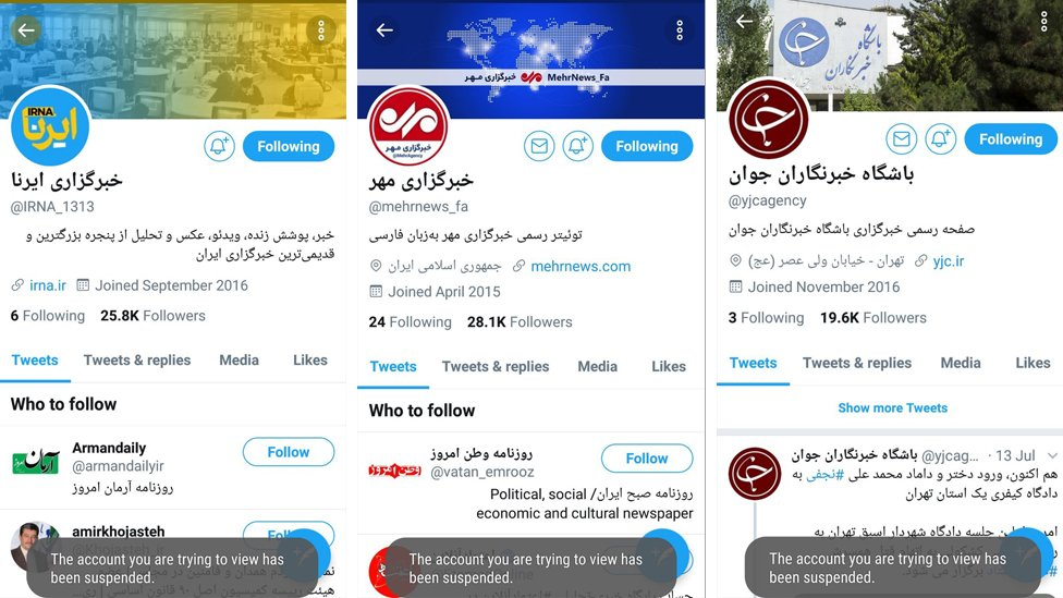 test Twitter Media - #Twitter has suspended several #Iran'ian #news accounts over alleged #harassment of people who follow #Bahai faith. YJC run by state broadcaster #IRIB, state-run IRNA, and Mehr were among #Farsi-language accounts suspended on Saturday. #minorities https://t.co/iyCwfjHp7j #بهایی https://t.co/qtnFCsrQeP