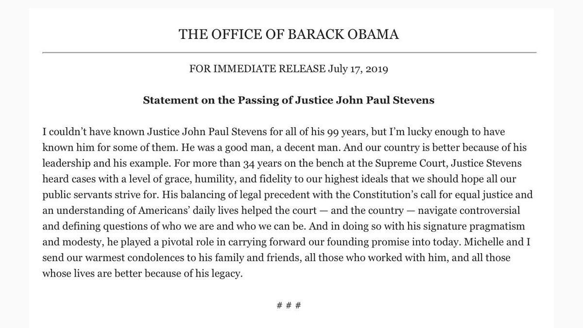 Former President Obama on the death of Justice John Paul Stevens.