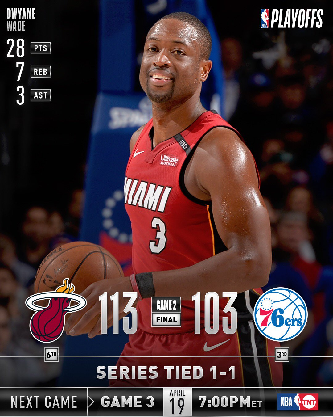 The @MiamiHEAT (1-1) and @warriors (2-0) are each victorious on Monday night! #NBAPlayoffs https://t.co/373FwxtAbF