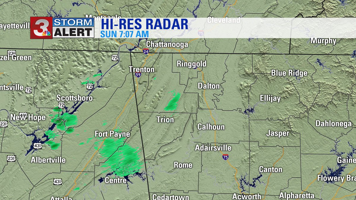 Very light rain beginning over LaFayette, Fort Payne, and Scottsboro now. Take a look! #CHAwx https://t.co/NsLJKtCVjW