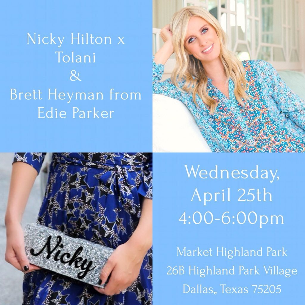 RT @NickyHilton: Excited for my #Dallas trunk show this Wednesday April 25th @MarketHPVillage! #NHxTolani https://t.co/MTYjR8YWEl