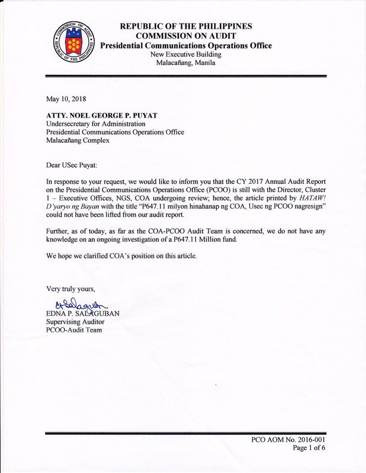 Communication Usec Noel Puyat Released This Certification From Coa