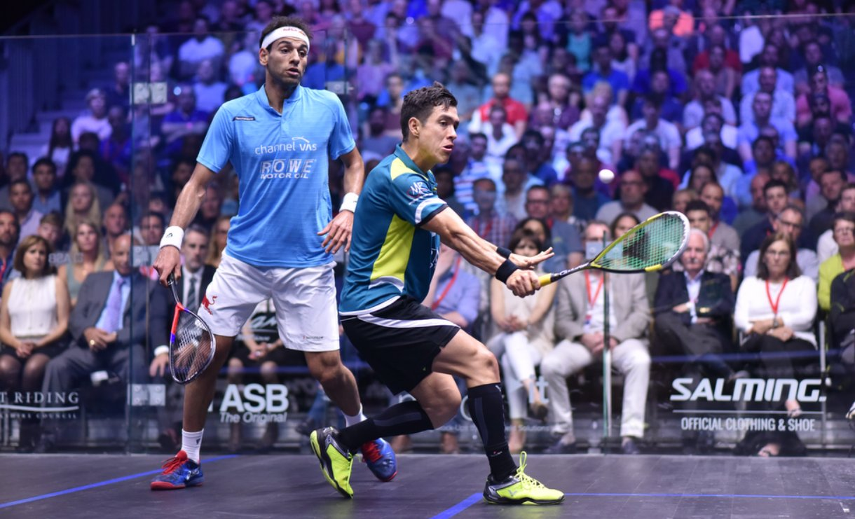 Men's Final : Shorbagy leads early, but the first game goes to @MiguelSquash  (despite a serve out!) ...  [1] Mohamed ElShorbagy (Egy) v Miguel Rodriguez (Col)  7-11 ... https://t.co/B89TY6uDeP