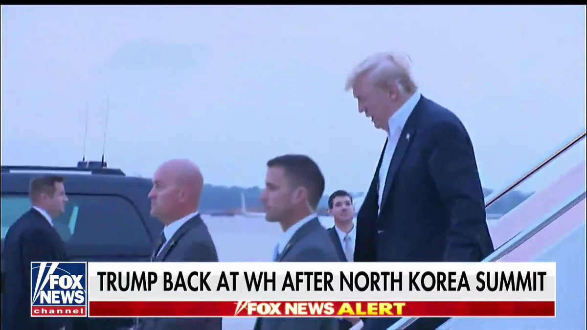 .@POTUS back at @WhiteHouse after North Korea summit  @AmericaNewsroom