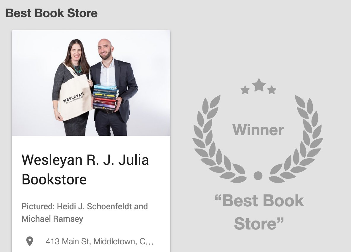 test Twitter Media - Congrats @wesrjjulia for being named Best Book Store by @GoToCTNow's Hartford Readers' Poll! https://t.co/Vz9P53yRqJ https://t.co/ql5Q4Y1cvW