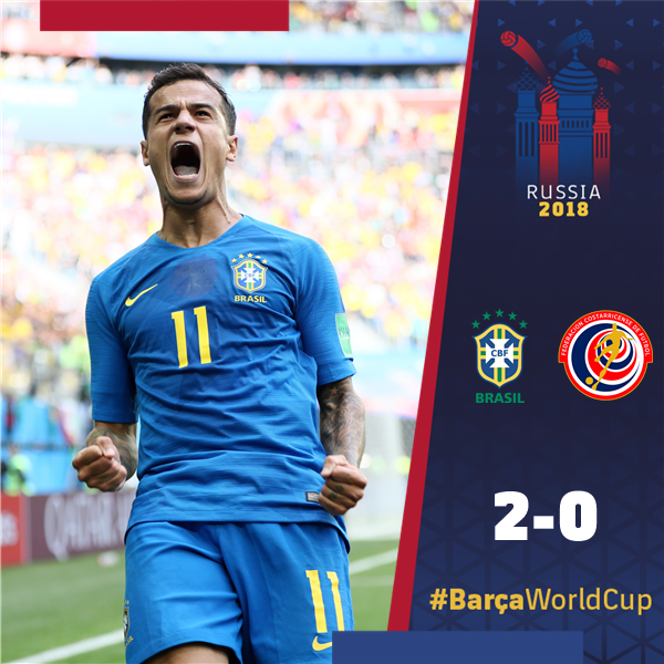 RT @FCBarcelona: ???? @Phil_Coutinho scores to help @CBF_Futebol to an important #WorldCup victory! ???????? #BarçaWorldCup https://t.co/eEIH8z2pta