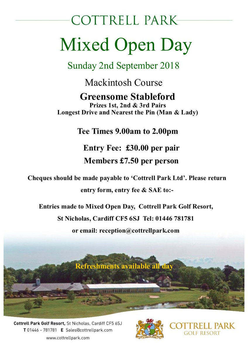 test Twitter Media - @CottrellParkLtd MIXED OPEN 🏌️‍♂️⛳️🏌️‍♀️  Sunday 02/09/2018  Our annual Mixed Open is less than 2 months away now...  Entry fee is just £15pp (£30 per couple) and there are plenty of prizes to be won on the day.  To book in or for more details, call us on 01446 781781 https://t.co/KH2B4c6Zs8