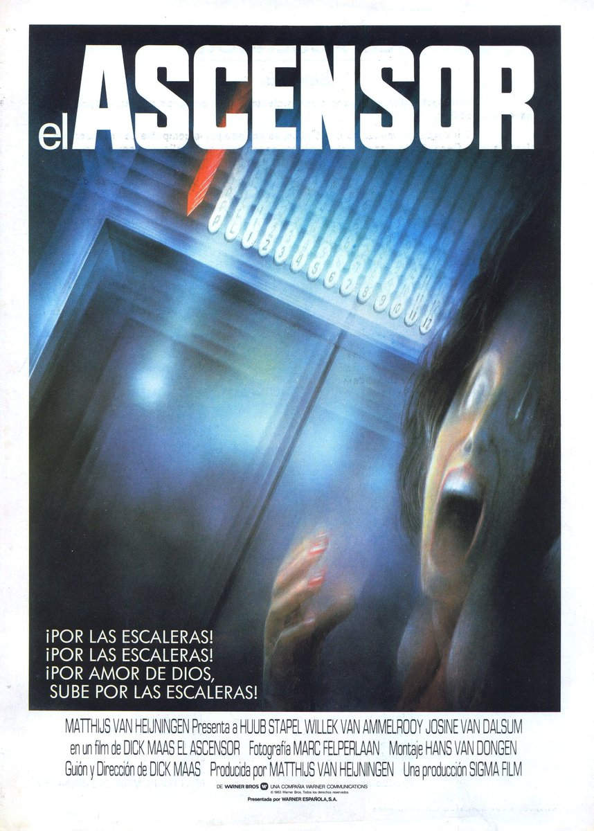 test Twitter Media - El ascensor (1983) me impresionó cuando la vi en un cine de pueblo hace 35 años. Hoy me siguen encantando sus escenas terroríficas. Debieran ser más, porque el resto es más ramplón y deja con la sensación de que le falta un hervor. En cualquier caso, una pequeña delicia holandesa https://t.co/8Go7BbGRWX