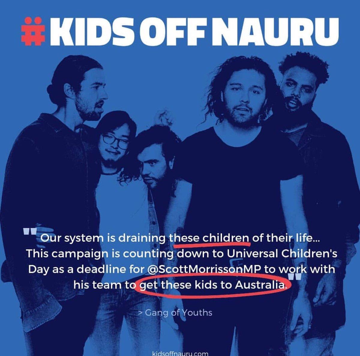 RT @jarrodmckenna: Gang of Youths message to @ScottMorrisonMP #KIDSOFFNAURU https://t.co/zKM52H7spX