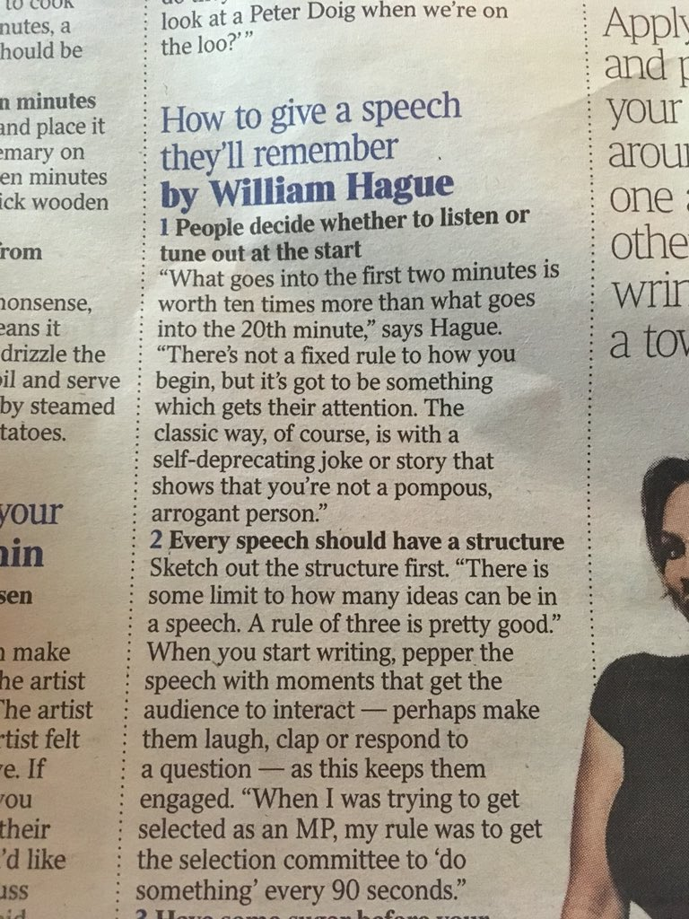 How to give a #speech they'll remember... courtesy of William Hague in today's @thetimes https://t.co/Kw8kjLP9rG