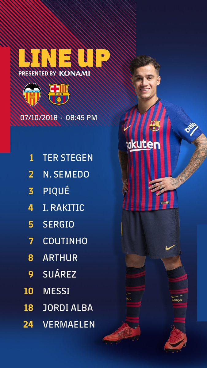 RT @FCBarcelona: ???????? Barça XI ???? ⚽ #ValenciaBarça https://t.co/EDlPuhcyKO