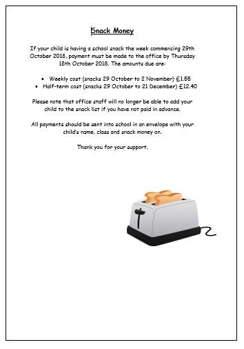 If your child would like school snack when we return to school on Monday 29 October - see below https://t.co/XOQp4L7B4G
