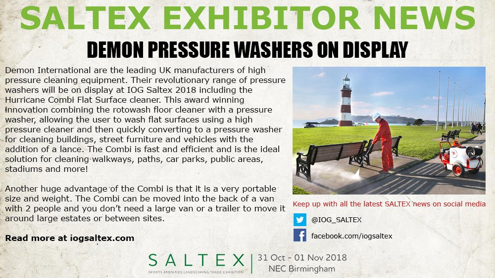 test Twitter Media - . @DemonPressure's revolutionary range of pressure washers will be on display at #SALTEX18. Read more here: https://t.co/2e6CYu8LNy https://t.co/AWavka9hYP