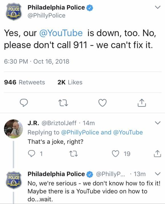 The Philly Police won the internet today. #YouTubeDOWN https://t.co/RT0bUVvj1C