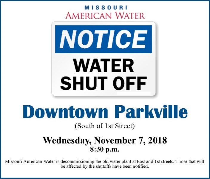 test Twitter Media - Tonight around 8:30pm, @moamwater will shut off the water in downtown @parkvillemo (south of 1st Street) to decommission the old water plant. Some fire hydrants will be impacted and @SPFPD has a contingency plan in case of a fire. Those that will be affected have been notified. https://t.co/2jmjoALwG0