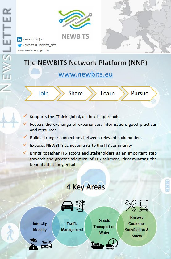 test Twitter Media - Our 5th @NEWBITS_CITS #Newsletter is available online! Do you want to know more about our consortium partners, the NEWBITS Network Platform (#NNP) or about elements for a succesful implementation of ITS? Then take a look! https://t.co/HOgt7s7p05 | #Transport #Mobility #ITS https://t.co/UzluvwCzqW