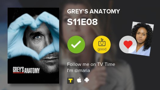 I've just watched episode S11E08 of Grey's Anatomy! #GreysAnatomy   #tvtime https://t.co/6sWpt2mKCu https://t.co/SeGb9sCgGi