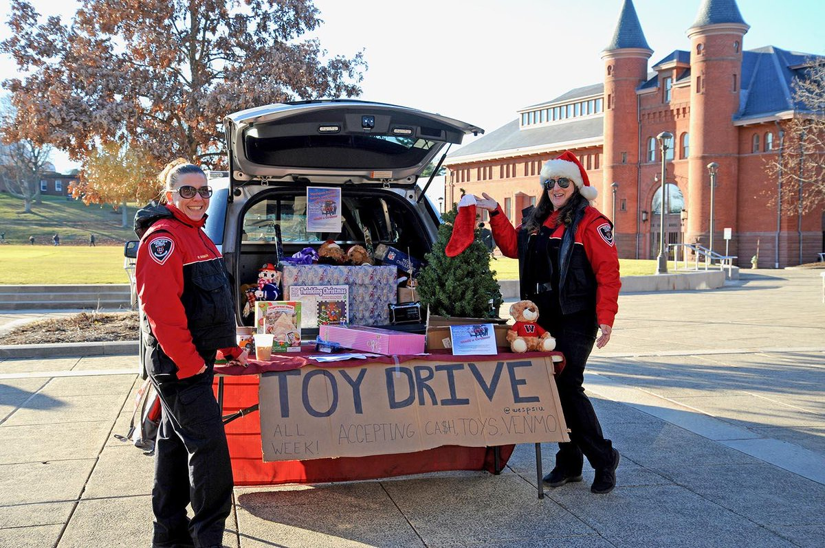 test Twitter Media - Wesleyan Public Safety Sgt. Kathy Burdick and dispatcher Val Walker collect toy donations from the Wesleyan community during the office's inaugural Stuff a Cruiser event cosponsored with Wesleyan Greek Life last week 🎎  https://t.co/YQ2V5DfqaV https://t.co/CsNN24Hq9v