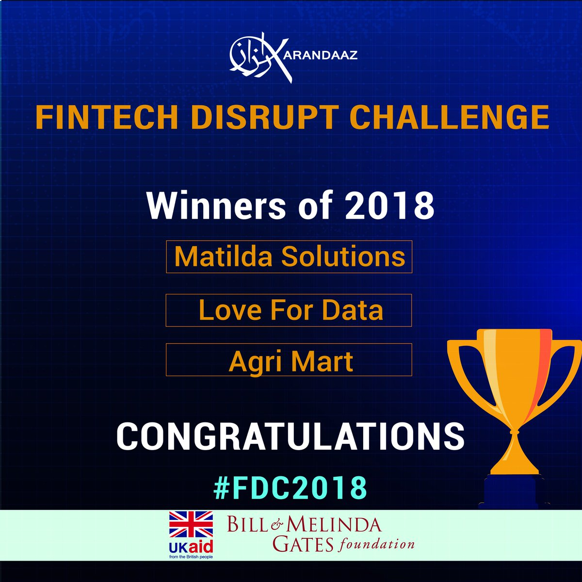 test Twitter Media - Karandaaz is proud of the impressive #FDC2018 finalists. They are examples of the entrepreneurial spirit that will propel country's competitiveness in the services markets. Congratulations to the 3 winners, we look forward to working closely to deliver innovative #DFS in Pakistan https://t.co/q0WsxvxLHA