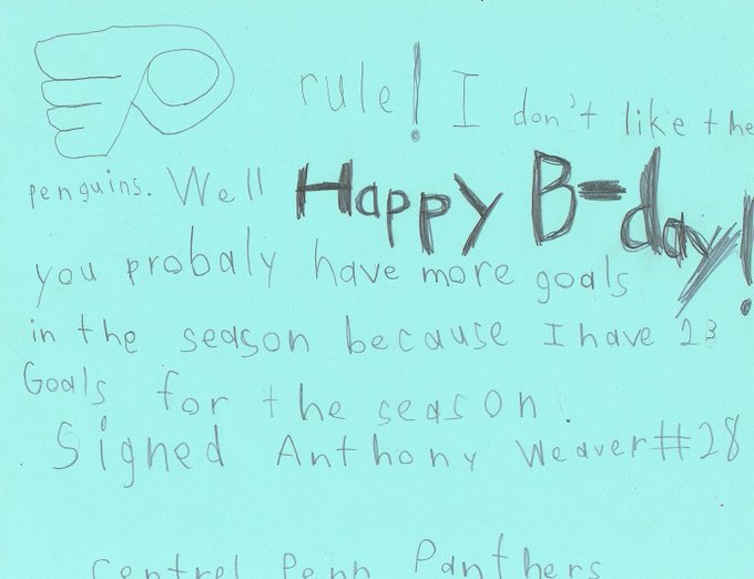 My son wanted to wish Claude Giroux a happy birthday.  He made him this card...