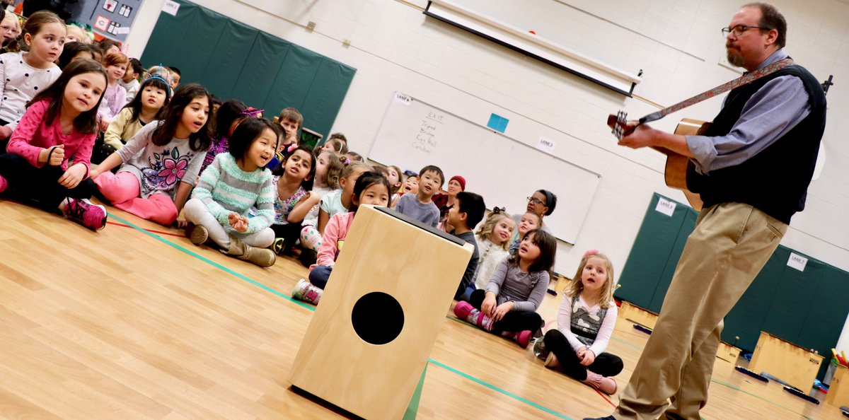 """test Twitter Media - WB kindergartners w/Mr. Barker thoroughly charmed audiences while sharing stories, folk music, & dance on Jan. 17! They even played instruments to """"She'll be Coming Around the Mountain,"""" and more! View photos at https://t.co/wjOdD423uE … #d30learns https://t.co/ZyyhfmtHa5"""