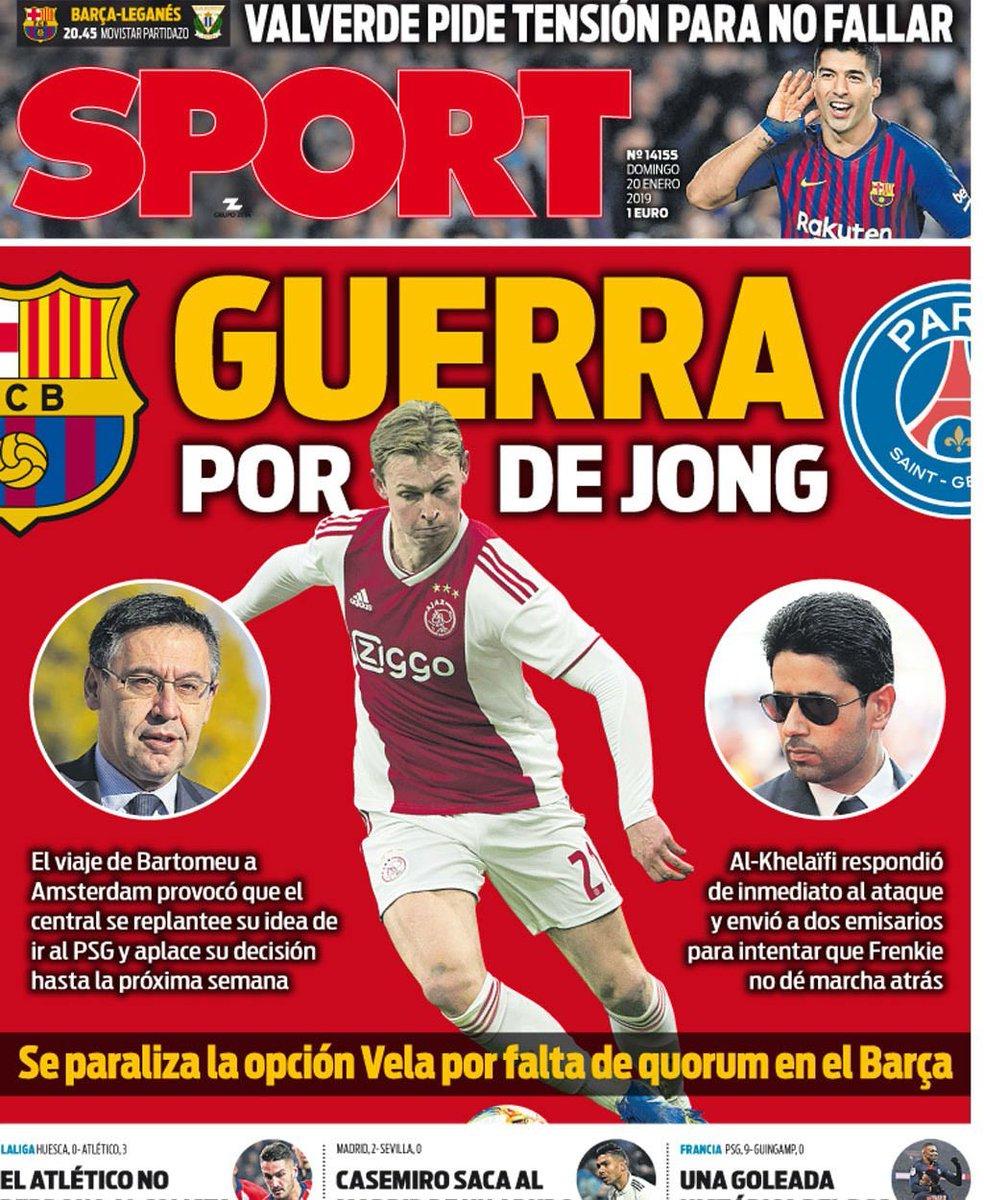 """Portada @sport: """"GUERRA POR DE JONG"""" #PortadaSport #Portadas https://t.co/0jkxljao9K"""