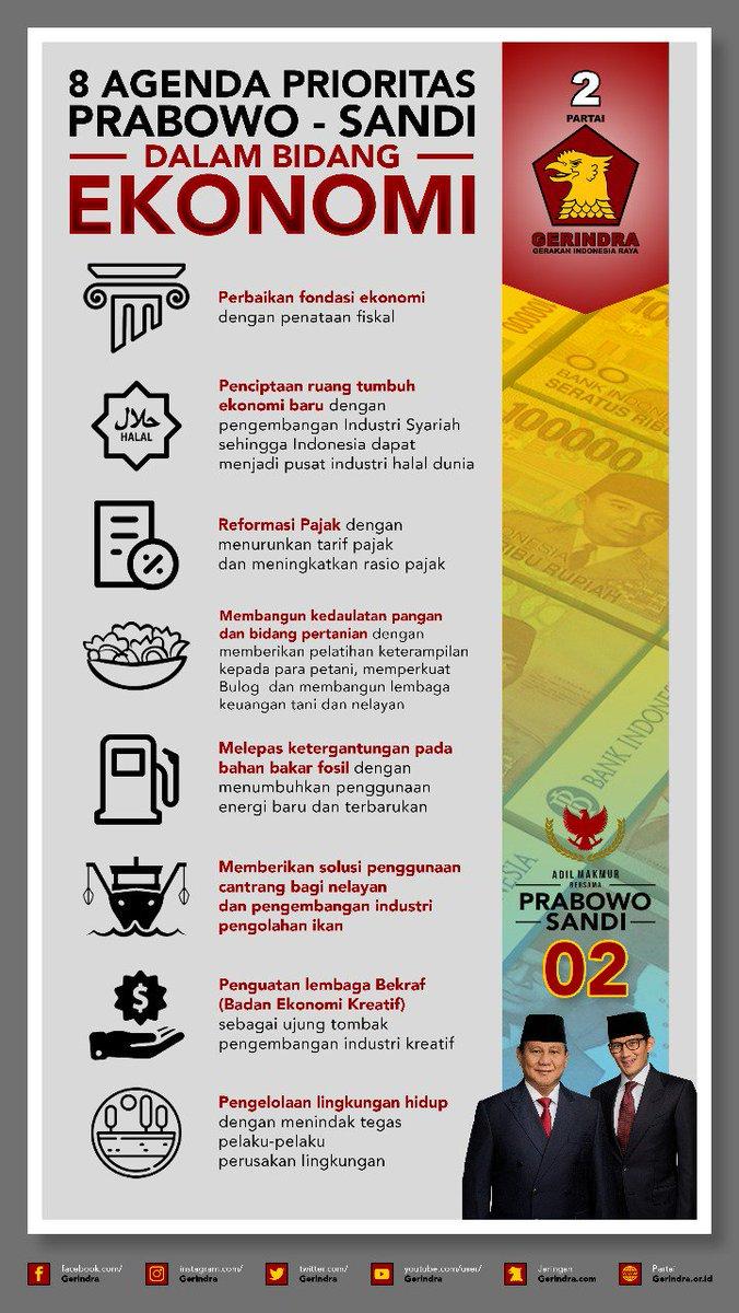 RT @fadlirinsa: 8 Agenda Prioritas Prabowo-Sandi Dalam Bidang Ekonomi  #PrabowoSandiBawaSolusi https://t.co/4vftAvdaw2