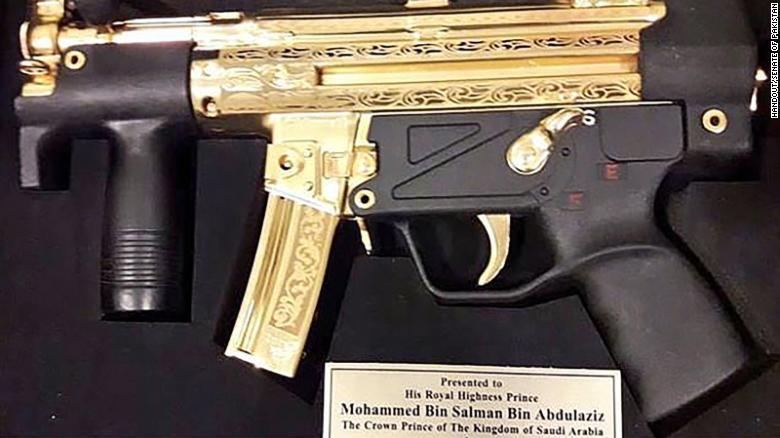 Saudi Crown Prince Mohammed bin Salman was gifted a golden submachine gun in Pakistan