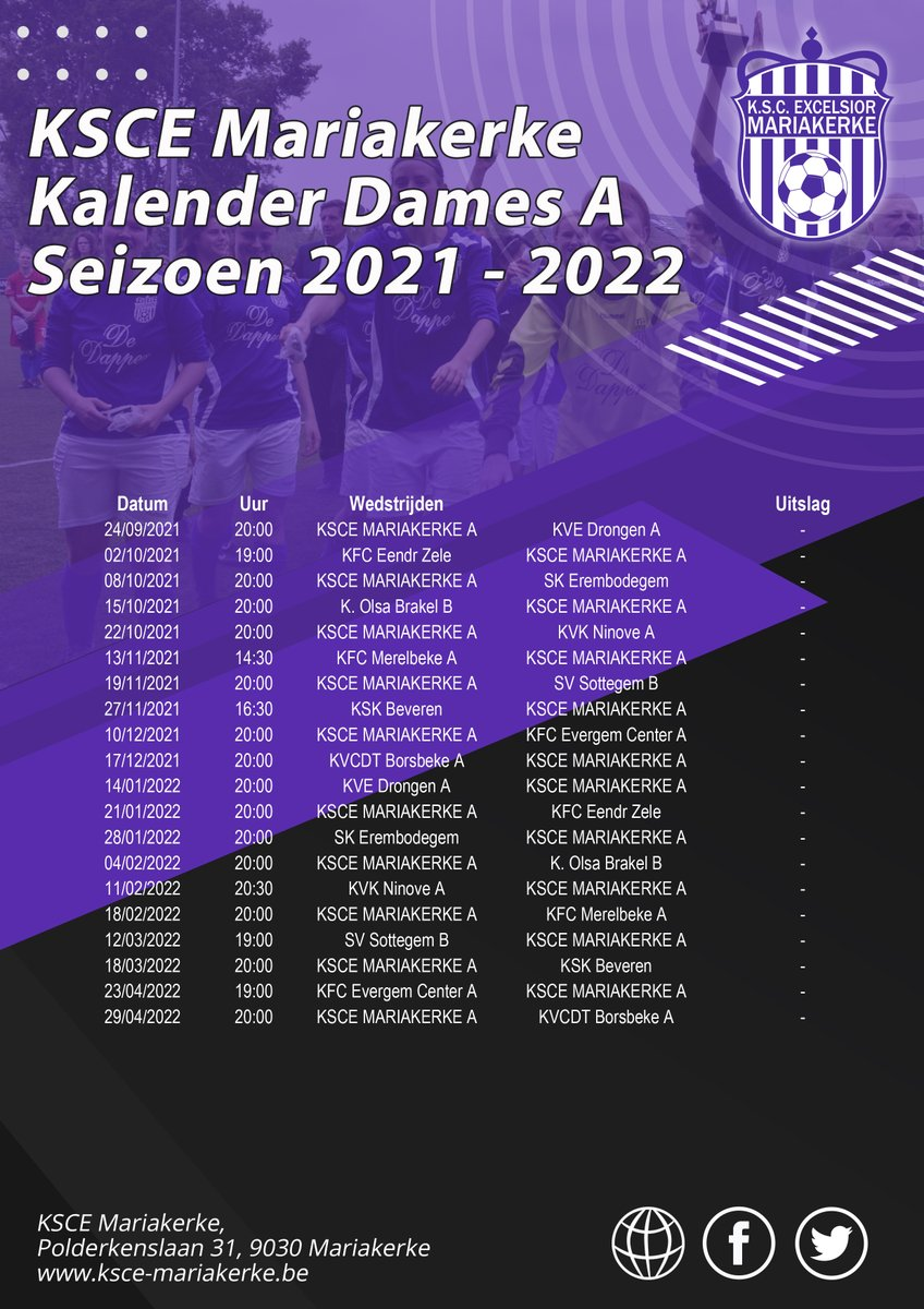 test Twitter Media - Wedstrijdkalender Dames A Seizoen 2021 - 2022 https://t.co/i9fmNNOz19