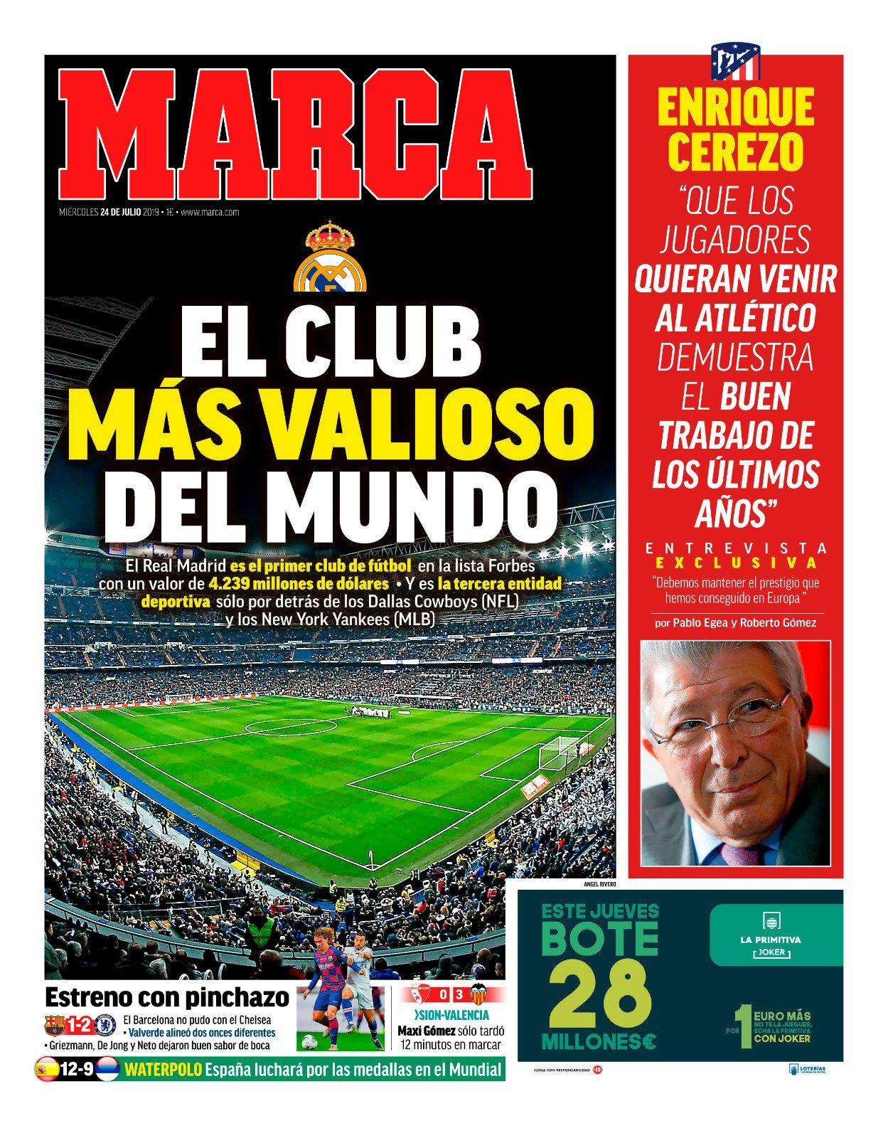 #LaPortada 'El club más valioso del mundo' https://t.co/hfqs0eh5LB