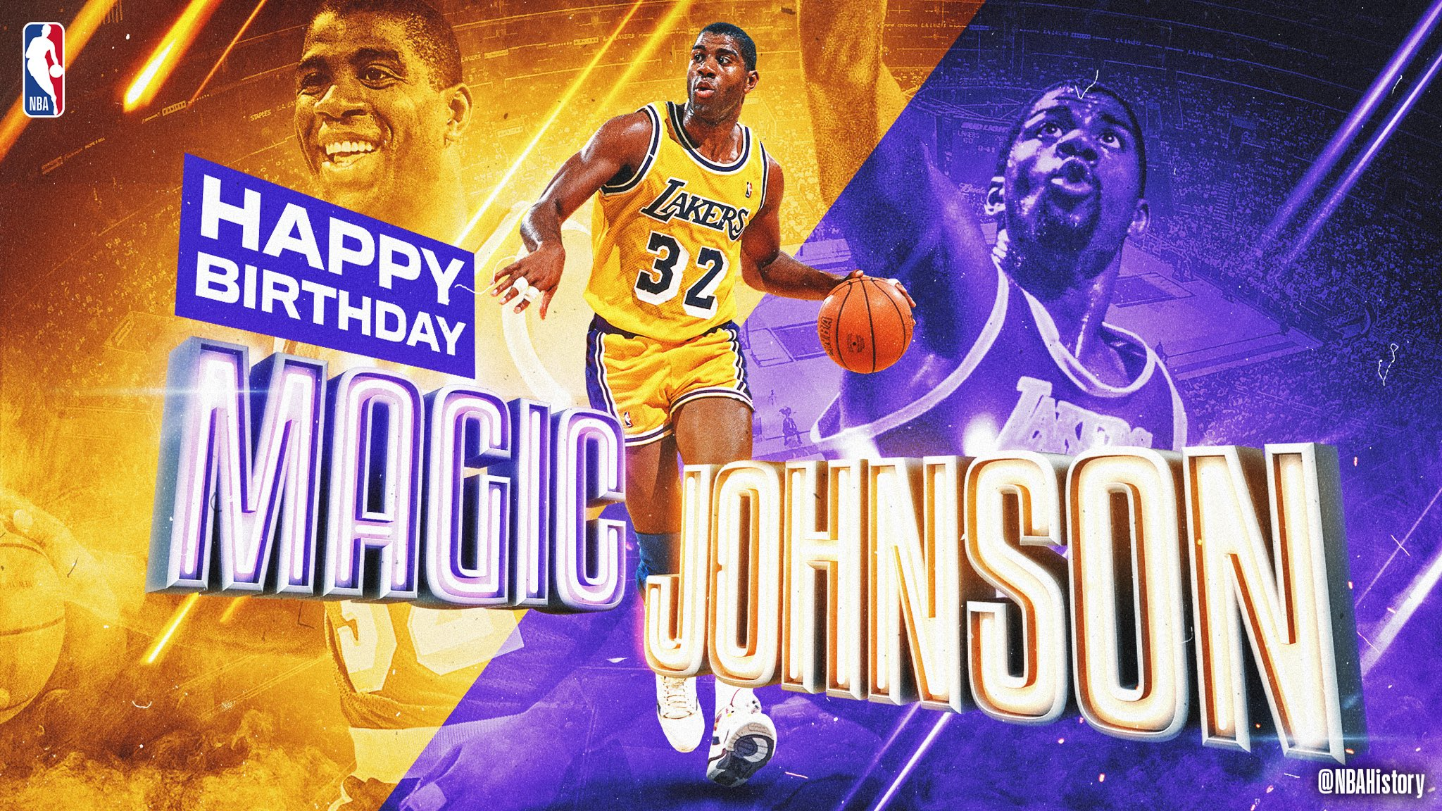 Join us in wishing a Happy 60th Birthday to 12x #NBAAllStar, 10x All-NBA, 5x Champion, 3x MVP & @Hoophall inductee, @MagicJohnson! #NBABDAY https://t.co/UUHKtkh1OU
