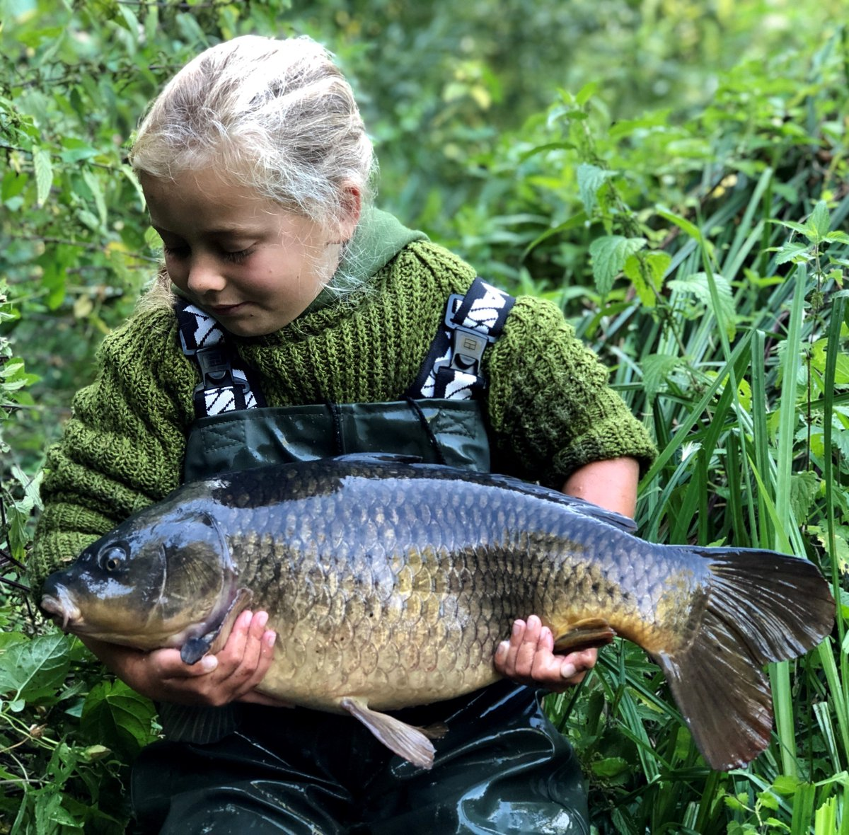 Sophie's river common caught Sunday morning, a <b>Beautiful</b> little carp. Well done Sophie. #carp