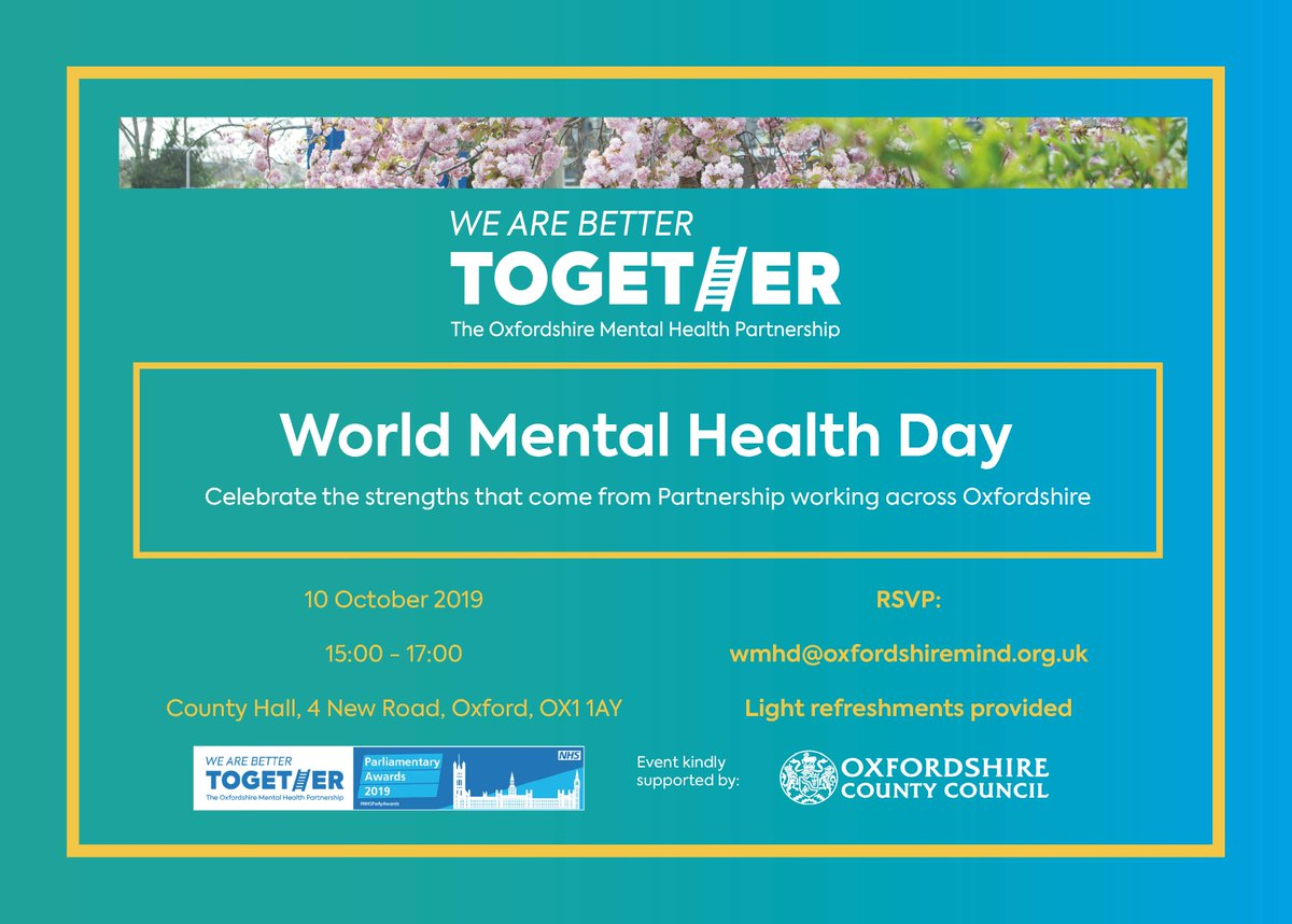 RT @OxfordshireMind: Join the #OMHP on #WorldMentalHealthDay as we celebrate the strengths that come from Partnership working across #Oxfordshire.  🗓️ 10 October  ⏰ 15:00 - 17:00 🏡 County Hall  @OxfordshireCC, @OxfordHealthNHS, @oxrestore, @responseorg, @ElmoreCommunity, @ConnectionSup, @OxfordSams