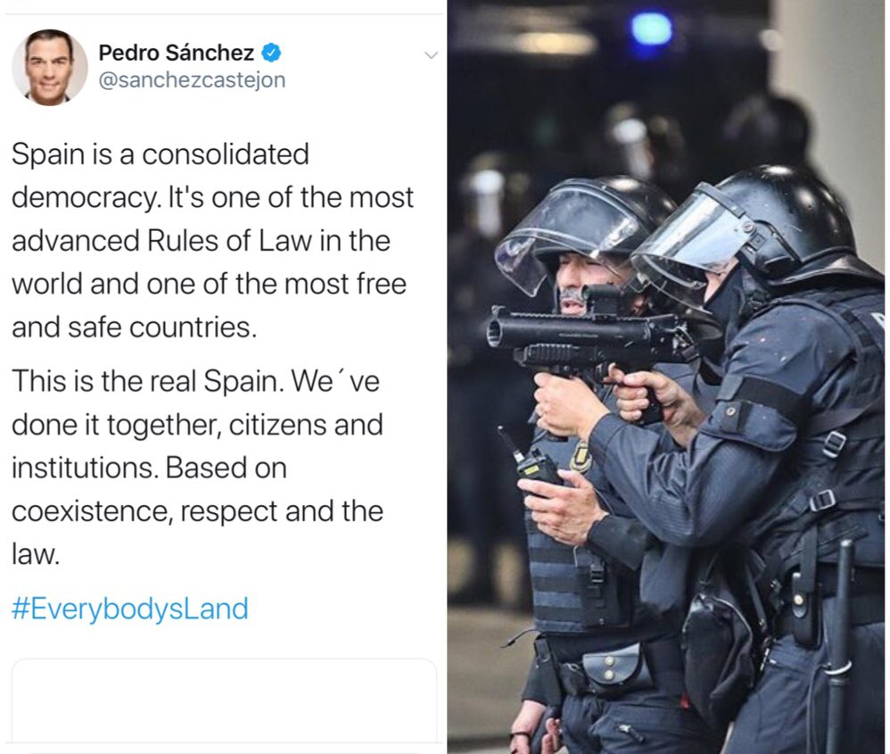 "Let me fix that for you @sanchezcastejon  you actually meant to say👇🏽 ""Spain acts like a dictatorship, real Spain jumps to tune of Franco's ghost. We will do anything to destroy Catalonia's desire for freedom We don't want coexistence & will not respect international law."" 🎗 https://t.co/dhwA2KXecL"