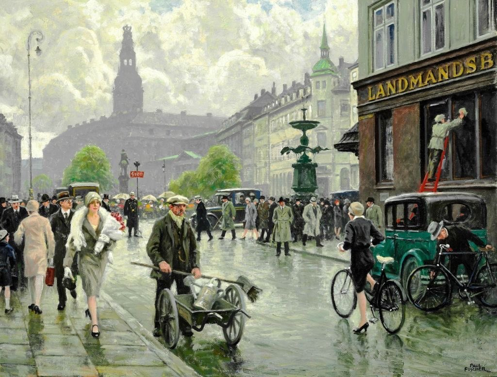 He's here again, one of my absolute favourite artists Paul Gustav Fischer.  My spellcheck check finds him immediately. Danish artist (1860-1934) His work has such clarity and movement, if he were here now I'd give him a hug. https://t.co/pFSrHZROWd