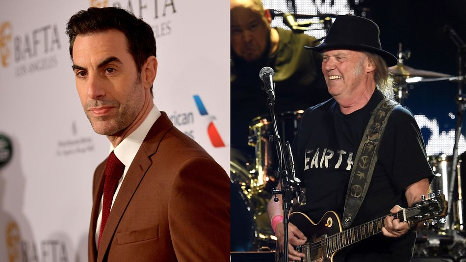 Sacha Baron Cohen and Neil Young stand up to