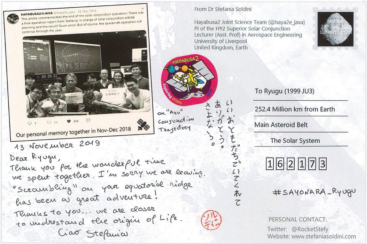 test ツイッターメディア - プロジェクトで軌道の計算などをしていましたStefaniaさん(現在はイギリスのリバプール大学)からは、絵はがきメッセージが届いています。 #SAYONARA_Ryugu https://t.co/v96mF5LRuw