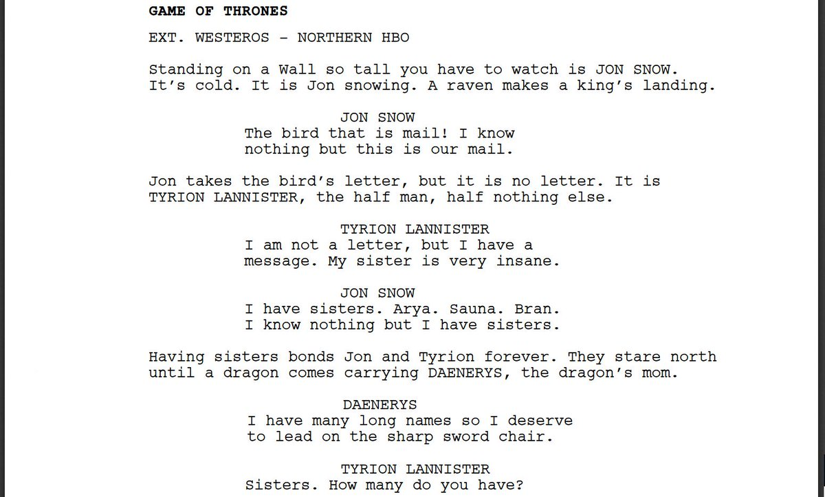 I forced a bot to watch over 1,000 hours of Game of Thrones and then asked it to write an episode of Game of Thrones of its own. Here is the first page.
