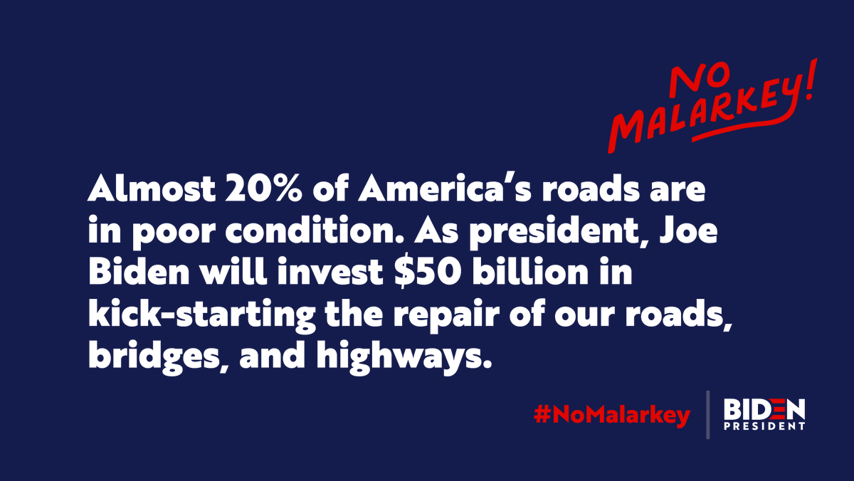 """The Trump Administration's """"Infrastructure Weeks"""" have been a bunch of malarkey. As president, I'll make a transformational investment in our nation's infrastructure and future."""