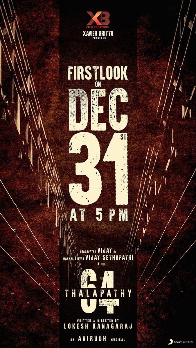 #Thalapathy64update  Dec 31st 5pm! Get ready nanba👍