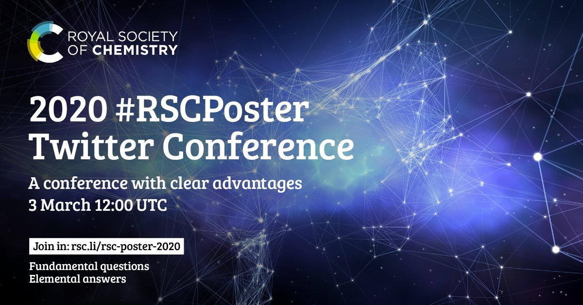 Are you ready for the 2020 #RSCPoster Twitter Conference?    Make sure you join us on 3 March for 24hr and share your posters with the chemical science community.   Register to be eligible for winning the prize ➡️