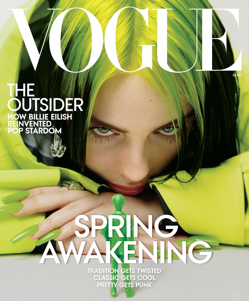 Billie covers the March issue of @VogueMagazine.