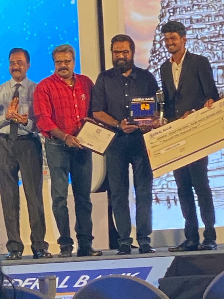 """நேற்று முன்தினம் (23.01.2020) நடைபெற்ற """"Speak for India Tamilnadu Edition - 2019"""" நிகழ்ச்சியில் சிறப்பு விருந்தினராக கலந்து கொண்டதில் மகிழ்ச்சியடைகிறேன். Honoured to be the Chief Guest of """"Speak for India Tamilnadu edition - 2019"""" #SpeakforIndia #TimesofIndia #TOI #ChennaiTimes"""